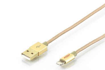 EDNET Apple Lade/Datenkabel Apple 8Pin -> USB-A 1,0m gold